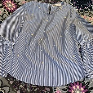 Blue and white pinstripe Pearled bell sleeve top